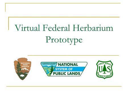 "Virtual Federal Herbarium Prototype. What is a virtual federal herbarium? A ""library"" of specimen data and images of plants and fungi A searchable public."