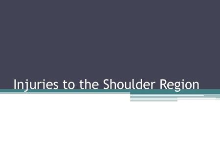 Injuries to the Shoulder Region. In this chapter we will discuss the gross anatomy and arthrology of the articulations of the shoulder We will briefly.