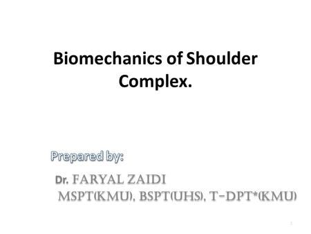 1 Biomechanics of Shoulder Complex.. OBJECTIVES At the end of this lecture students should be able to: Define different terms of biomechanics Identify.