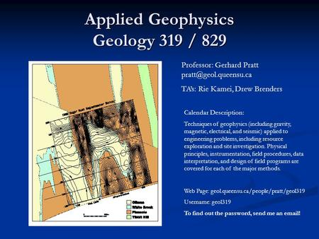 Applied Geophysics Geology 319 / 829