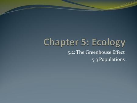 5.2: The Greenhouse Effect 5.3 Populations. Carbon Cycle Show how carbon is recycled throughout the environment Show transformation of carbon from organic.