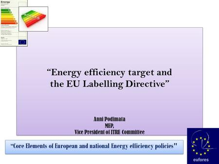 """Energy efficiency target and the EU Labelling Directive"" Anni Podimata MEP, Vice President of ITRE Committee ""Core Elements of European and national Energy."