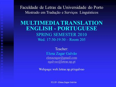 MULTIMEDIA TRANSLATION ENGLISH - PORTUGUESE