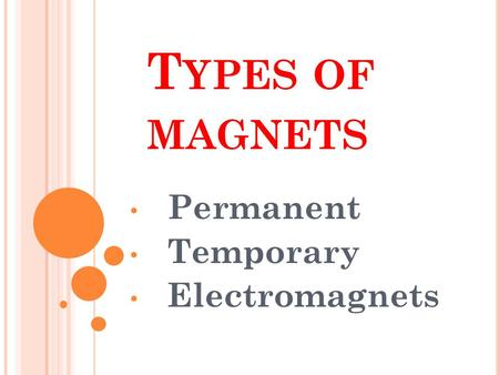 T YPES OF MAGNETS Permanent Temporary Electromagnets.