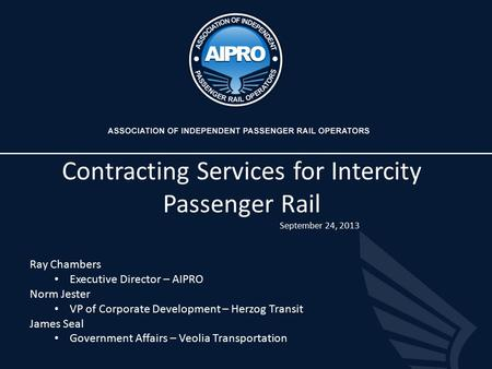 Contracting Services for Intercity Passenger Rail