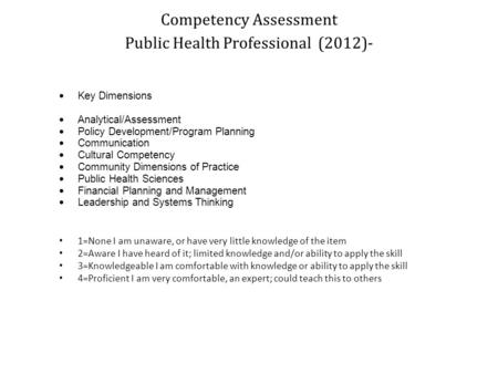Competency Assessment Public Health Professional (2012)-  Key Dimensions  Analytical/Assessment  Policy Development/Program Planning  Communication.