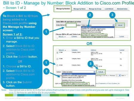 © 2013 Cisco and/or its affiliates. All rights reserved. Cisco Confidential 1 To Block a Bill to ID from being added to a Cisco.com profile using the Manage.