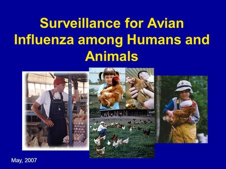 Surveillance for Avian Influenza among Humans and Animals May, 2007.