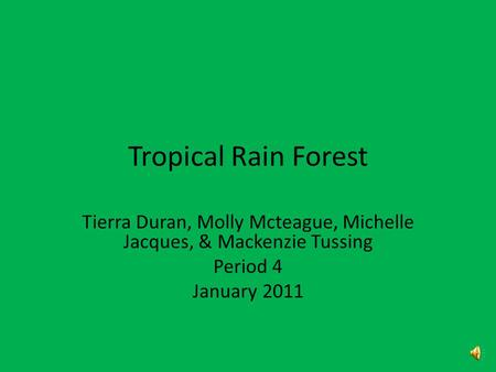 Tropical Rain Forest Tierra Duran, Molly Mcteague, Michelle Jacques, & Mackenzie Tussing Period 4 January 2011.