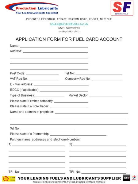 APPLICATION FORM FOR FUEL CARD ACCOUNT Name: ________________________________________ Address: ______________________________________ ______________________________________________.