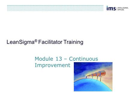 LeanSigma ® Facilitator Training Module 13 – Continuous Improvement.