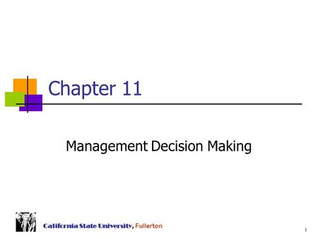 Chapter 11 Management Decision Making