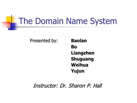 The Domain Name System Presented by: Baolan Bo Bo Liangzhen LiangzhenShuguangWeihuaYujun Instructor: Dr. Sharon P. Hall.
