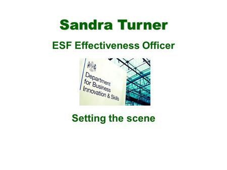 Sandra Turner ESF Effectiveness Officer Setting the scene.