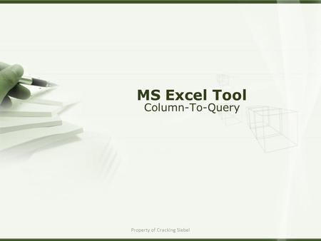 Property of Cracking Siebel MS Excel Tool Column-To-Query.