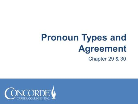 Chapter 29 & 30.  Recognize different pronoun types  Develop sentences with correct pronoun agreement.