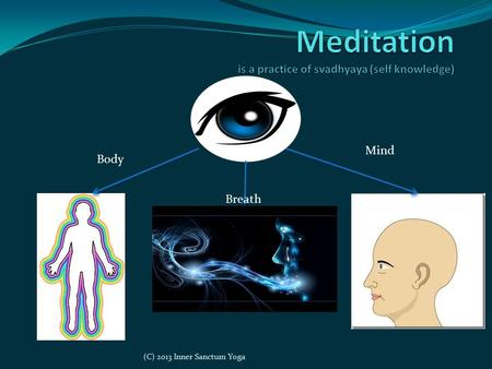 Mind Breath Body (C) 2013 Inner Sanctum Yoga. Reasons to Meditate What is your reason? Accessing inner stillness Calming the monkey mind Reduce anxiety.