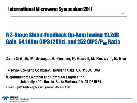 Chart 1 A 3-Stage Shunt-Feedback Op-Amp having 19.2dB Gain, 54.1dBm OIP3 (2GHz), and 252 OIP3/P DC Ratio Zach Griffith, M. Urteaga, R. Pierson, P. Rowell,