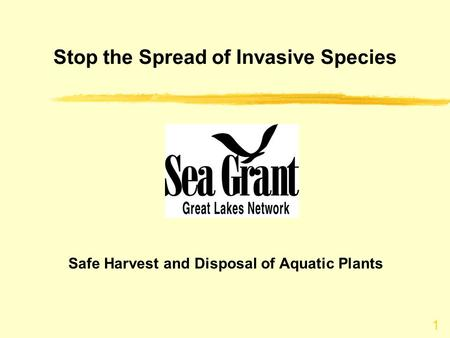 Stop the Spread of Invasive Species Safe Harvest and Disposal of Aquatic Plants 1.