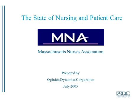 Massachusetts Nurses Association Prepared by Opinion Dynamics Corporation July 2005 The State of Nursing and Patient Care.
