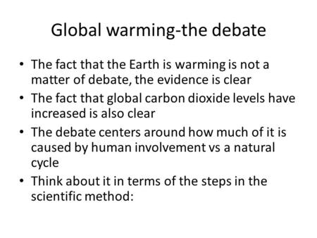 Global warming-the debate The fact that the Earth is warming is not a matter of debate, the evidence is clear The fact that global carbon dioxide levels.