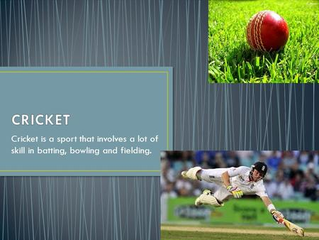 Cricket is a sport that involves a lot of skill in batting, bowling and fielding.