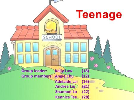 Group leader:Kelly Law(18) Group members:Angie Chu(12) Adelaide Lai(16) Andrea Liu (21) Shannon Lo(22) Kennice Tse(28)