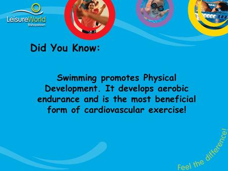 Did You Know: Swimming promotes Physical Development. It develops aerobic endurance and is the most beneficial form of cardiovascular exercise!