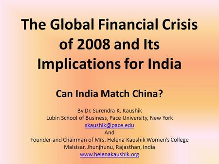 global economic crisis implications and challenges