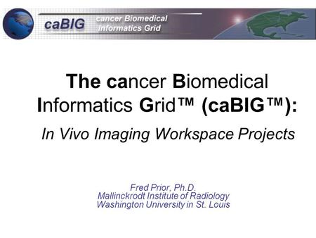 The cancer Biomedical Informatics Grid™ (caBIG™): In Vivo Imaging Workspace Projects Fred Prior, Ph.D. Mallinckrodt Institute of Radiology Washington University.
