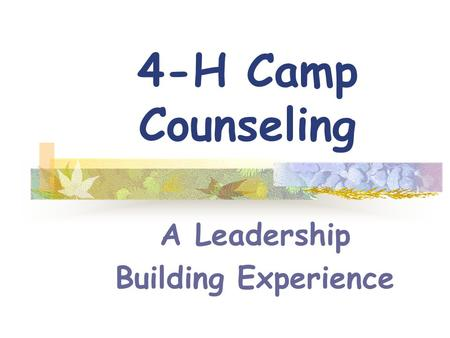 4-H Camp Counseling A Leadership Building Experience.
