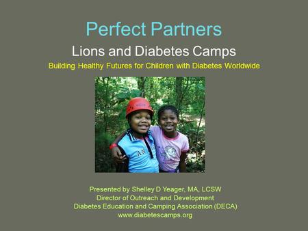 Perfect Partners Lions and Diabetes Camps Building Healthy Futures for Children with Diabetes Worldwide Presented by Shelley D Yeager, MA, LCSW Director.