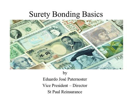 Surety Bonding Basics by Eduardo José Paternoster Vice President – Director St Paul Reinsurance.