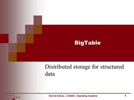 Distributed storage for structured data