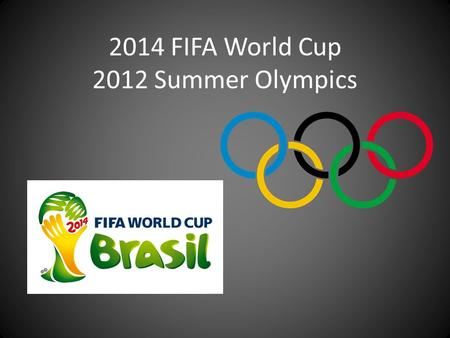 2014 FIFA World Cup 2012 Summer Olympics. History – Played by many ancient cultures Romans (early Olympics) Japanese (110 B.C.) Chinese (611 A.D.) – Evolved.