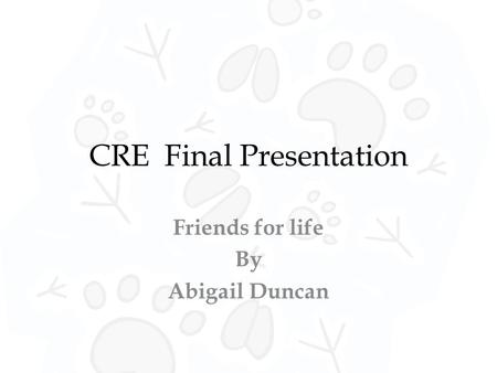 CRE Final Presentation Friends for life By Abigail Duncan.