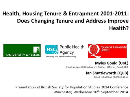 Health, Housing Tenure & Entrapment 2001-2011: Does Changing Tenure and Address Improve Health? Myles Gould (UoL)   ac.uk Twitter: