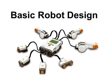 Basic Robot Design. 3 Steps Design Build Program Drawing and thinking of ideas Using your design to make a robot Telling your robot what to do.