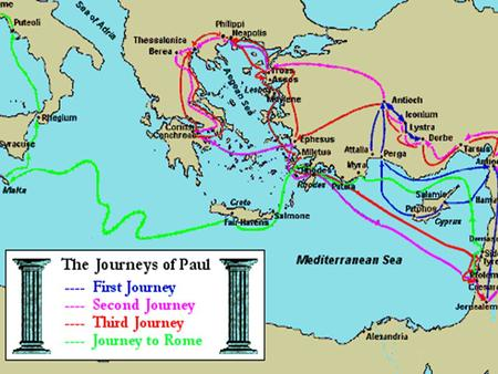ST. PAUL'S FIRST MISSIONARY JOURNEY: Approximate dates: AD 45 - 49 Companions: Barnabas, John, Mark Mission field: Cyprus and Asia Minor (Turkey) Approximate.