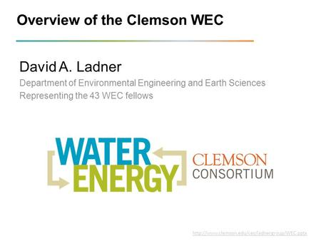 Overview of the Clemson WEC David A. Ladner Department of Environmental Engineering and Earth Sciences Representing the 43 WEC fellows