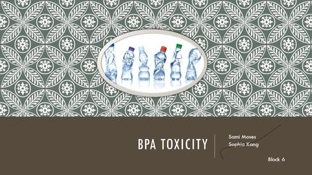BPA TOXICITY Sami Moses Sophia Kang Block 6. WHAT IS IT? Bisphenol A Common in plastic 90% of us have it mainly obtained by consuming through containers.