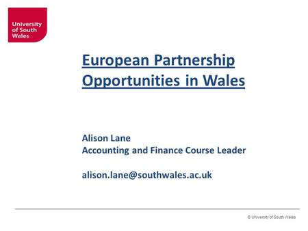 © University of South Wales European Partnership Opportunities in Wales Alison Lane Accounting and Finance Course Leader