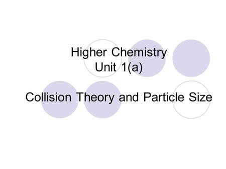 Higher Chemistry Unit 1(a) Collision Theory and Particle Size.