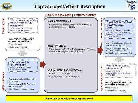 First item planned. Add more text as necessary. Second item planned. Add more text as necessary. Add other points as necessary Topic/project/effort description.