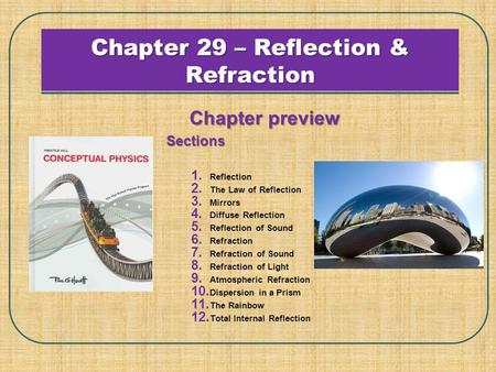 Chapter 29 – Reflection & Refraction Chapter preview Sections 1. Reflection 2. The Law of Reflection 3. Mirrors 4. Diffuse Reflection 5. Reflection of.