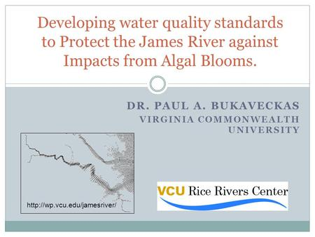 DR. PAUL A. BUKAVECKAS VIRGINIA COMMONWEALTH UNIVERSITY Developing water quality standards to Protect the James River against Impacts from Algal Blooms.