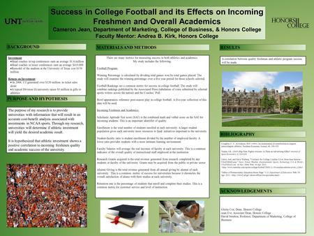 Success in College Football and its Effects on Incoming Freshmen and Overall Academics Cameron Jean, Department of Marketing, College of Business, & Honors.
