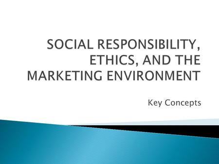 Key Concepts.  Corporate Social Responsibility Corporate Social Responsibility Ethical Do what is right. Legal Obey the Law. Economic Be profitable.