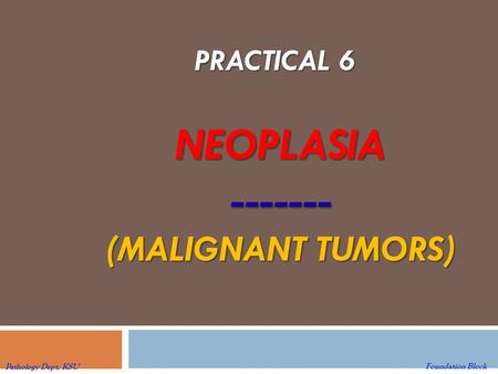 NEOPLASIA ------- (MALIGNANT TUMORS) PRACTICAL 6 Foundation Block Pathology Dept, KSU.