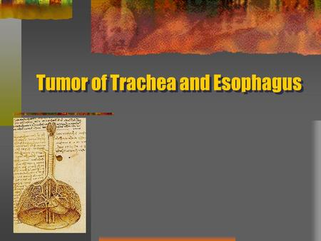 Tumor of Trachea and Esophagus